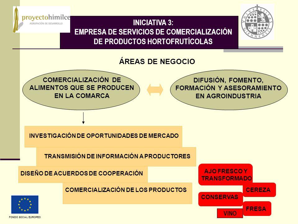 INICIATIVA 3: EMPRESA DE SERVICIOS DE COMERCIALIZACIÓN DE PRODUCTOS HORTOFRUTÍCOLAS COMERCIALIZACIÓN DE ALIMENTOS QUE SE PRODUCEN EN LA COMARCA DIFUSIÓN, FOMENTO, FORMACIÓN Y ASESORAMIENTO EN AGROINDUSTRIA ÁREAS DE NEGOCIO INVESTIGACIÓN DE OPORTUNIDADES DE MERCADO TRANSMISIÓN DE INFORMACIÓN A PRODUCTORES DISEÑO DE ACUERDOS DE COOPERACIÓN COMERCIALIZACIÓN DE LOS PRODUCTOS CEREZA AJO FRESCO Y TRANSFORMADO FRESA CONSERVAS FONDO SOCIAL EUROPEO VINO