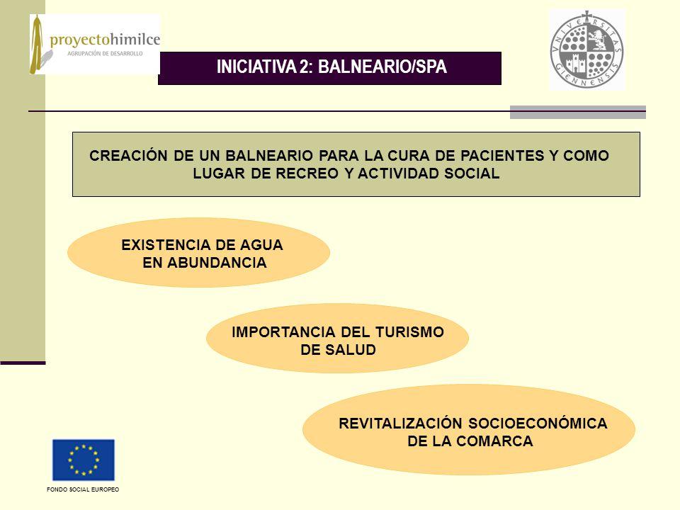 INICIATIVA 2: BALNEARIO/SPA CREACIÓN DE UN BALNEARIO PARA LA CURA DE PACIENTES Y COMO LUGAR DE RECREO Y ACTIVIDAD SOCIAL EXISTENCIA DE AGUA EN ABUNDANCIA REVITALIZACIÓN SOCIOECONÓMICA DE LA COMARCA IMPORTANCIA DEL TURISMO DE SALUD FONDO SOCIAL EUROPEO