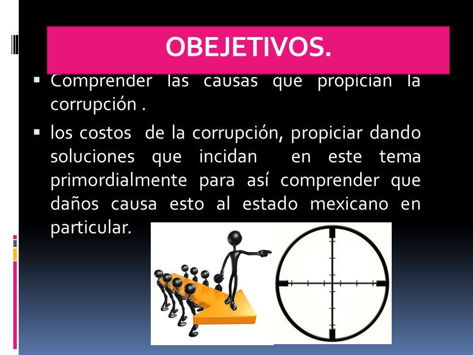  Comprender las causas que propician la corrupción.