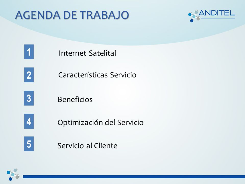 AGENDA DE TRABAJO Internet Satelital 1 5 4 3 2 Características Servicio Beneficios Optimización del Servicio Servicio al Cliente