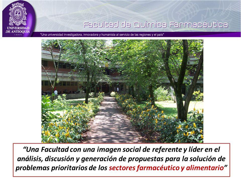 Una Facultad con una imagen social de referente y líder en el análisis, discusión y generación de propuestas para la solución de problemas prioritarios de los sectores farmacéutico y alimentario