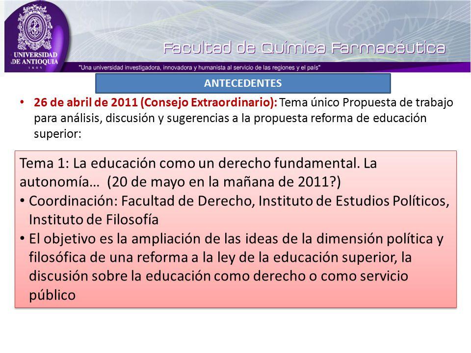 ANTECEDENTES Tema 1: La educación como un derecho fundamental.