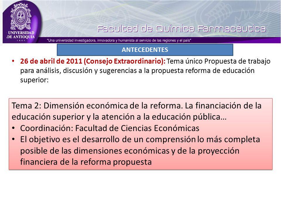 ANTECEDENTES Tema 2: Dimensión económica de la reforma.