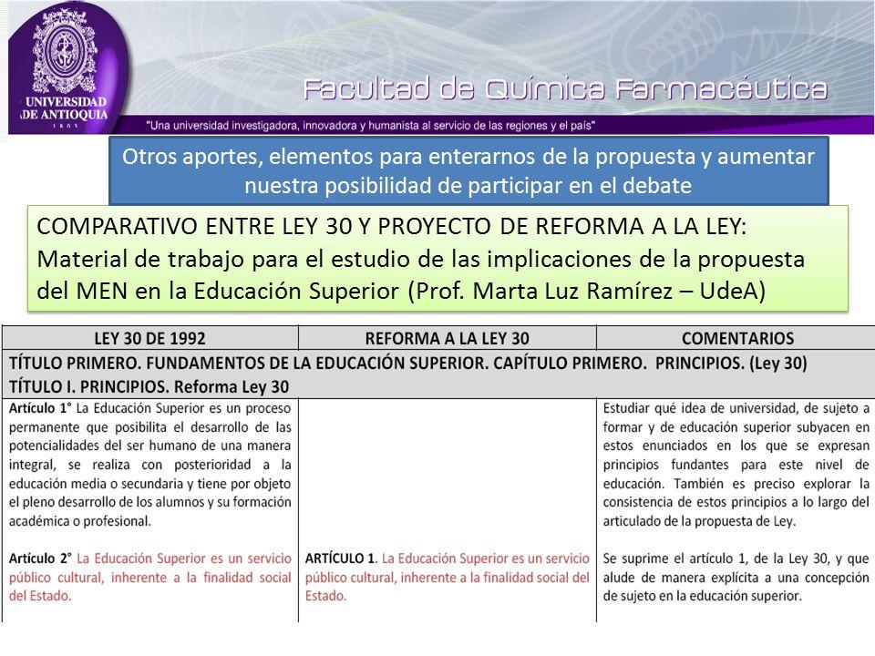 COMPARATIVO ENTRE LEY 30 Y PROYECTO DE REFORMA A LA LEY: Material de trabajo para el estudio de las implicaciones de la propuesta del MEN en la Educación Superior (Prof.