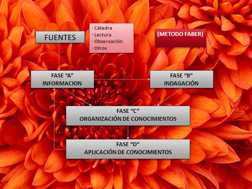 FUENTES FASE A INFORMACION FASE B INDAGACIÓN FASE C ORGANIZACIÓN DE CONOCIMIENTOS FASE C ORGANIZACIÓN DE CONOCIMIENTOS FASE D APLICACIÓN DE CONOCIMIENTOS FASE D APLICACIÓN DE CONOCIMIENTOS · Cátedra · Lectura · Observación · Otros · Cátedra · Lectura · Observación · Otros a b cd ef (METODO FABER)