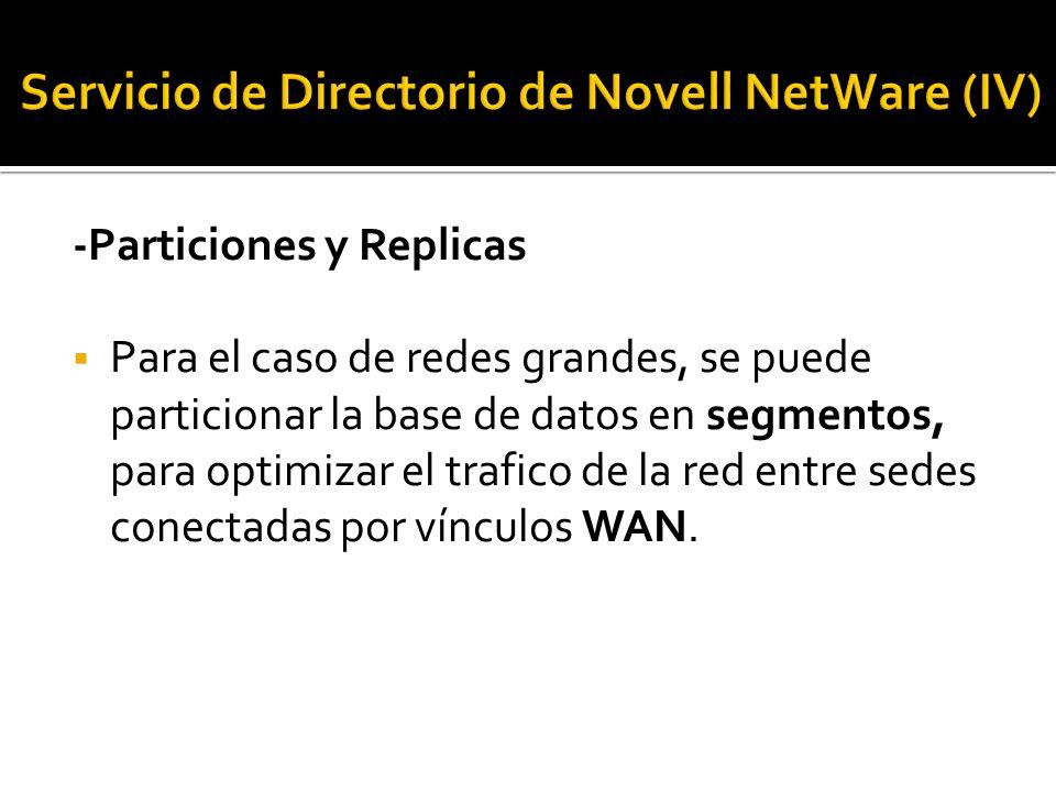 -Particiones y Replicas  Para el caso de redes grandes, se puede particionar la base de datos en segmentos, para optimizar el trafico de la red entre sedes conectadas por vínculos WAN.