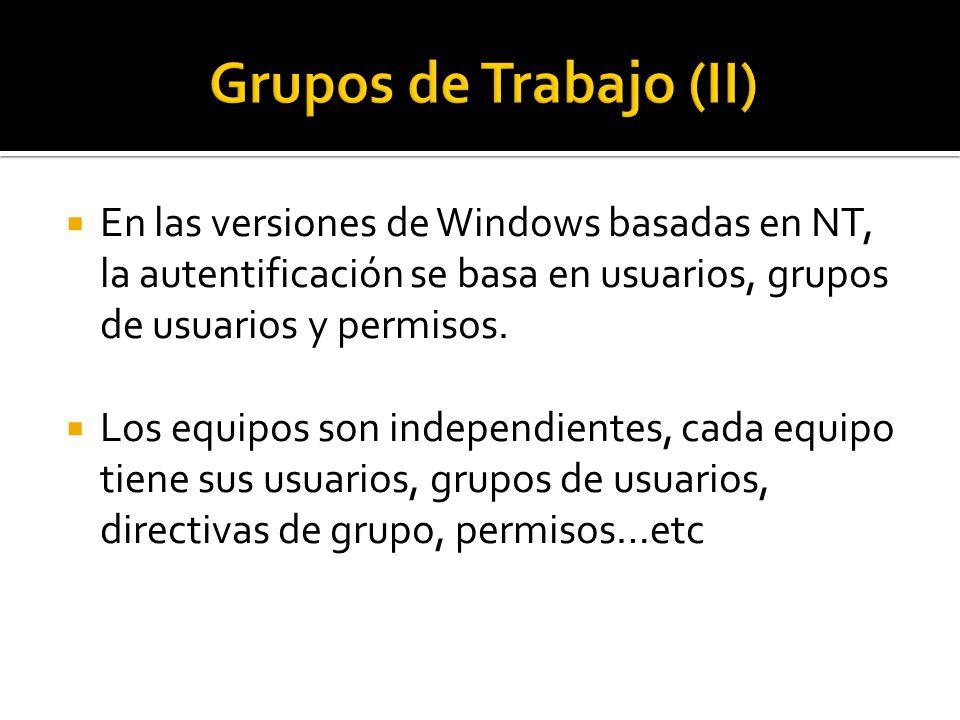  En las versiones de Windows basadas en NT, la autentificación se basa en usuarios, grupos de usuarios y permisos.