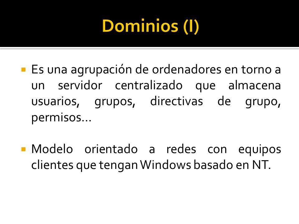  Es una agrupación de ordenadores en torno a un servidor centralizado que almacena usuarios, grupos, directivas de grupo, permisos…  Modelo orientado a redes con equipos clientes que tengan Windows basado en NT.