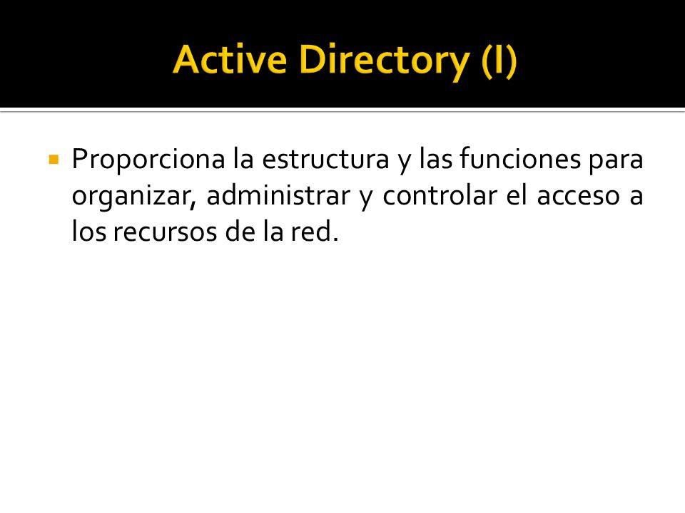 Proporciona la estructura y las funciones para organizar, administrar y controlar el acceso a los recursos de la red.