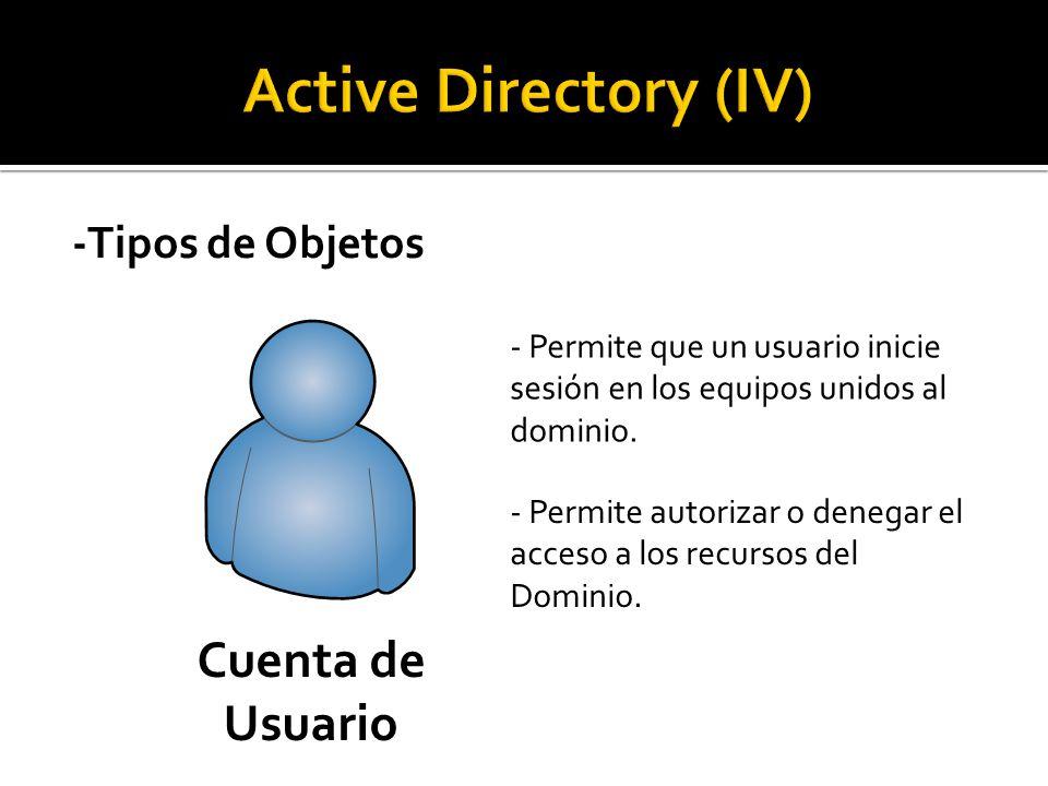 -Tipos de Objetos Cuenta de Usuario - Permite que un usuario inicie sesión en los equipos unidos al dominio.