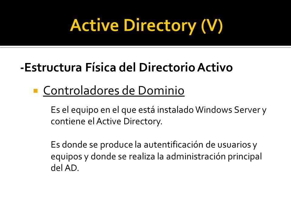 -Estructura Física del Directorio Activo  Controladores de Dominio Es el equipo en el que está instalado Windows Server y contiene el Active Directory.