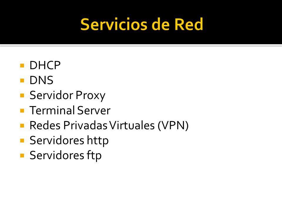  DHCP  DNS  Servidor Proxy  Terminal Server  Redes Privadas Virtuales (VPN)  Servidores http  Servidores ftp