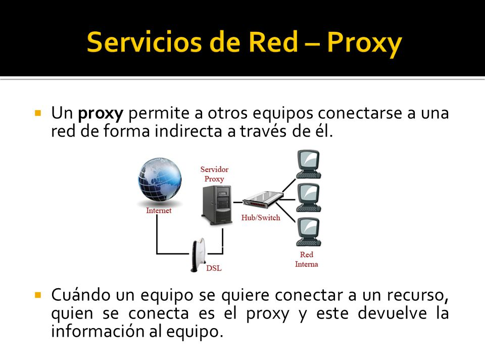  Un proxy permite a otros equipos conectarse a una red de forma indirecta a través de él.