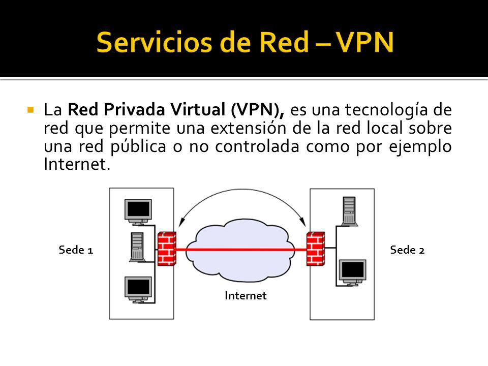  La Red Privada Virtual (VPN), es una tecnología de red que permite una extensión de la red local sobre una red pública o no controlada como por ejemplo Internet.