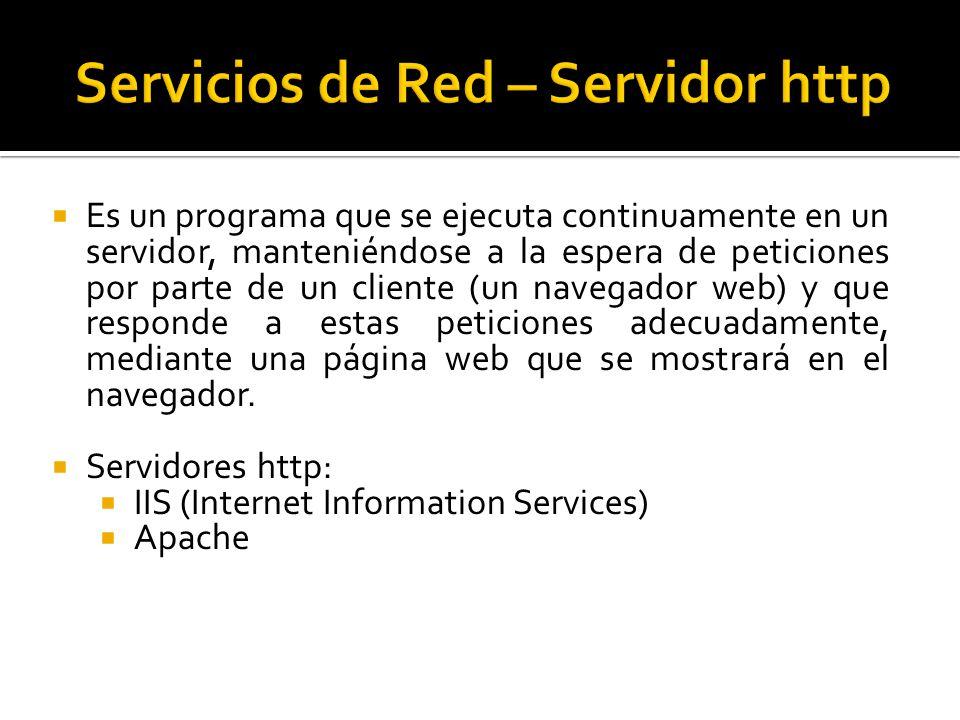  Es un programa que se ejecuta continuamente en un servidor, manteniéndose a la espera de peticiones por parte de un cliente (un navegador web) y que responde a estas peticiones adecuadamente, mediante una página web que se mostrará en el navegador.