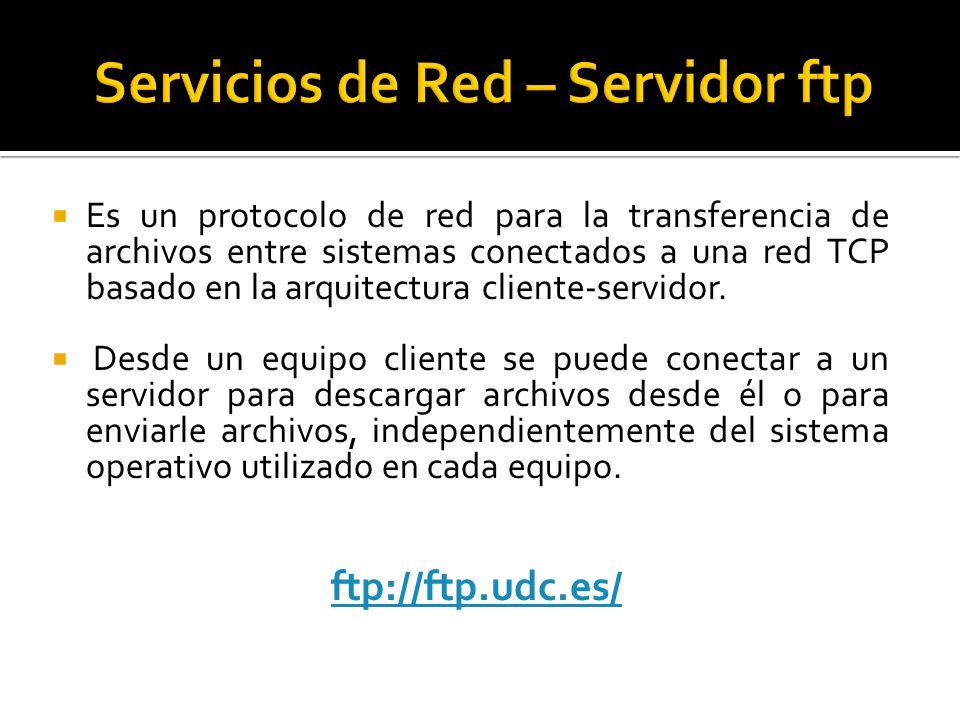  Es un protocolo de red para la transferencia de archivos entre sistemas conectados a una red TCP basado en la arquitectura cliente-servidor.
