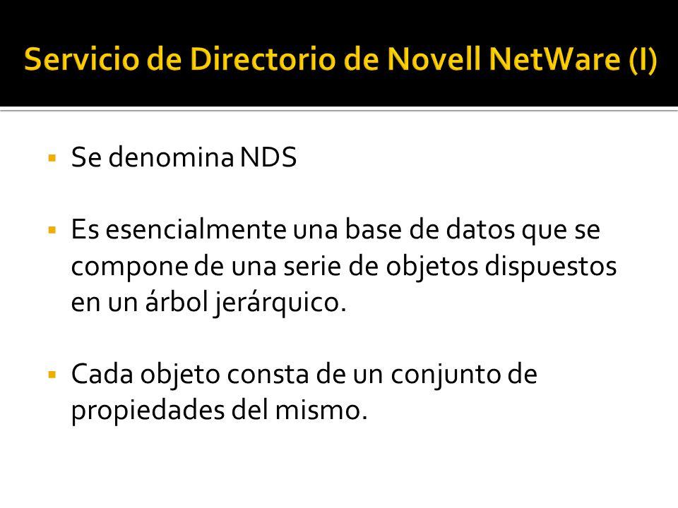  Se denomina NDS  Es esencialmente una base de datos que se compone de una serie de objetos dispuestos en un árbol jerárquico.