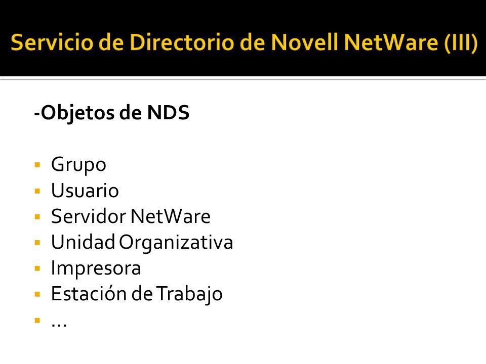 -Objetos de NDS  Grupo  Usuario  Servidor NetWare  Unidad Organizativa  Impresora  Estación de Trabajo  …