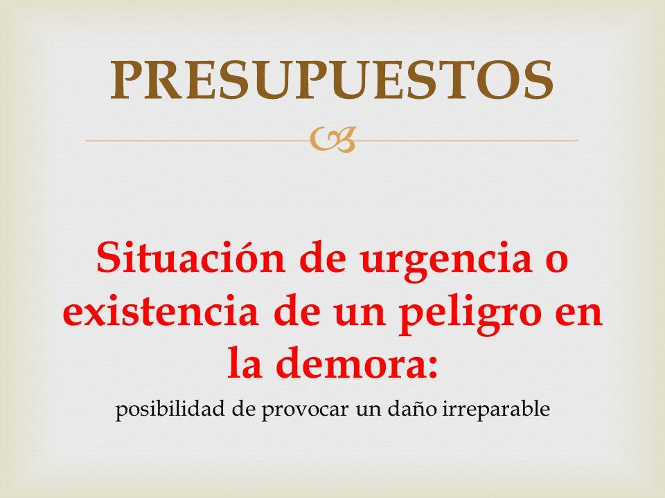  Situación de urgencia o existencia de un peligro en la demora: posibilidad de provocar un daño irreparable PRESUPUESTOS