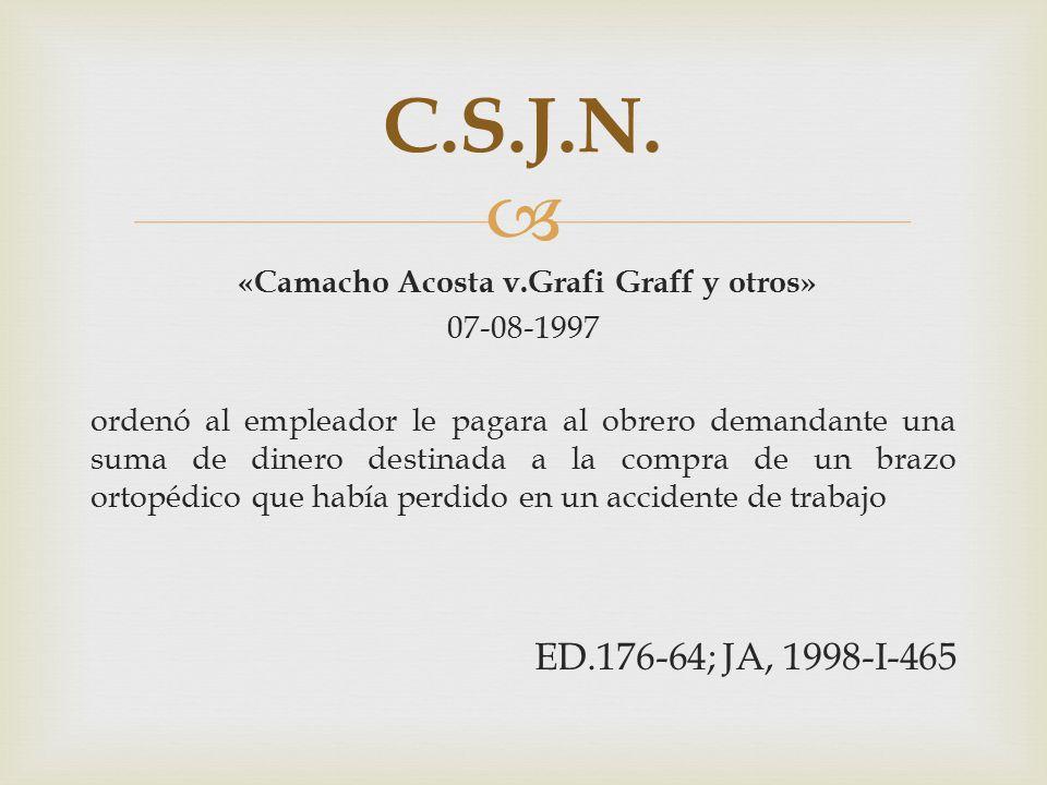  «Camacho Acosta v.Grafi Graff y otros» 07-08-1997 ordenó al empleador le pagara al obrero demandante una suma de dinero destinada a la compra de un brazo ortopédico que había perdido en un accidente de trabajo ED.176-64; JA, 1998-I-465 C.S.J.N.