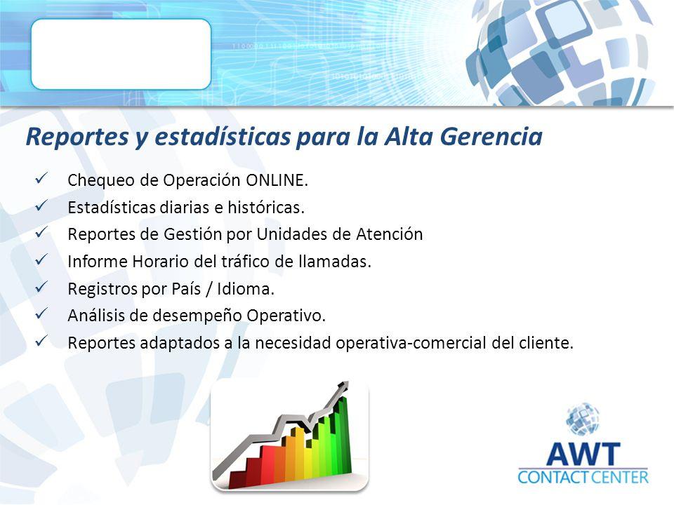 Reportes y estadísticas para la Alta Gerencia Chequeo de Operación ONLINE.