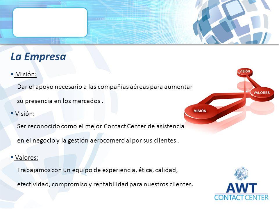 La Empresa  Misión: Dar el apoyo necesario a las compañías aéreas para aumentar su presencia en los mercados.
