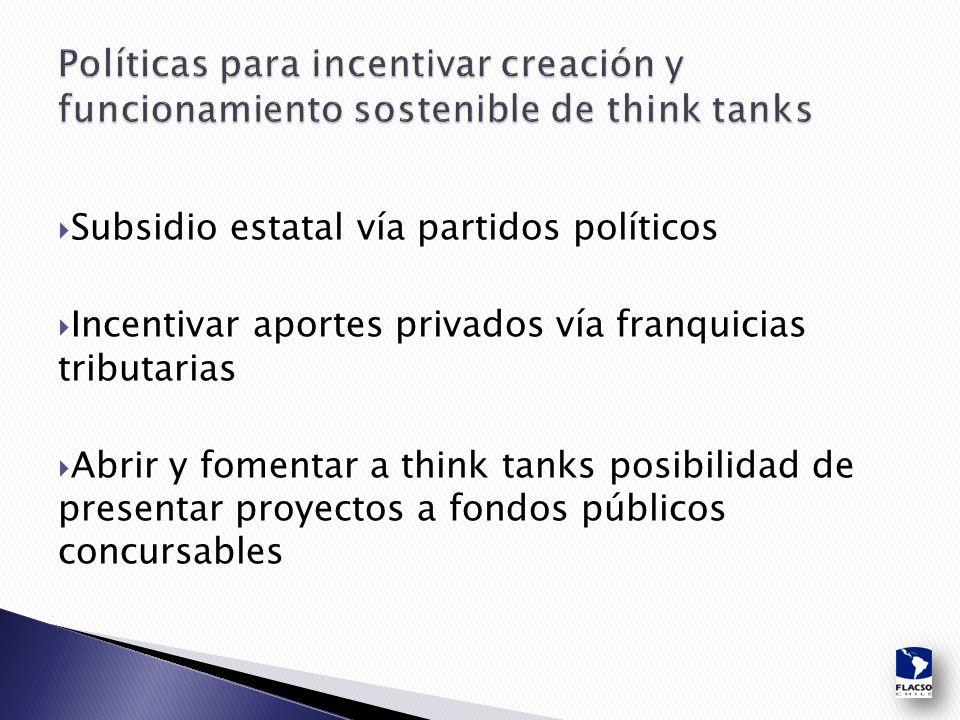  Subsidio estatal vía partidos políticos  Incentivar aportes privados vía franquicias tributarias  Abrir y fomentar a think tanks posibilidad de presentar proyectos a fondos públicos concursables