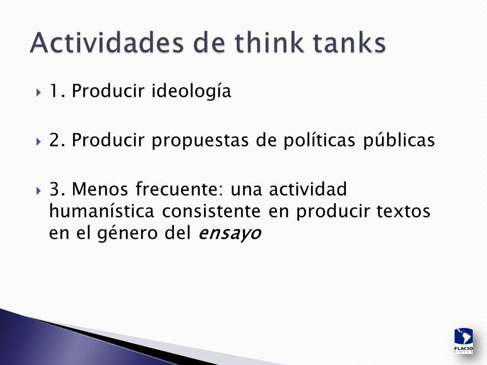  1. Producir ideología  2. Producir propuestas de políticas públicas  3.