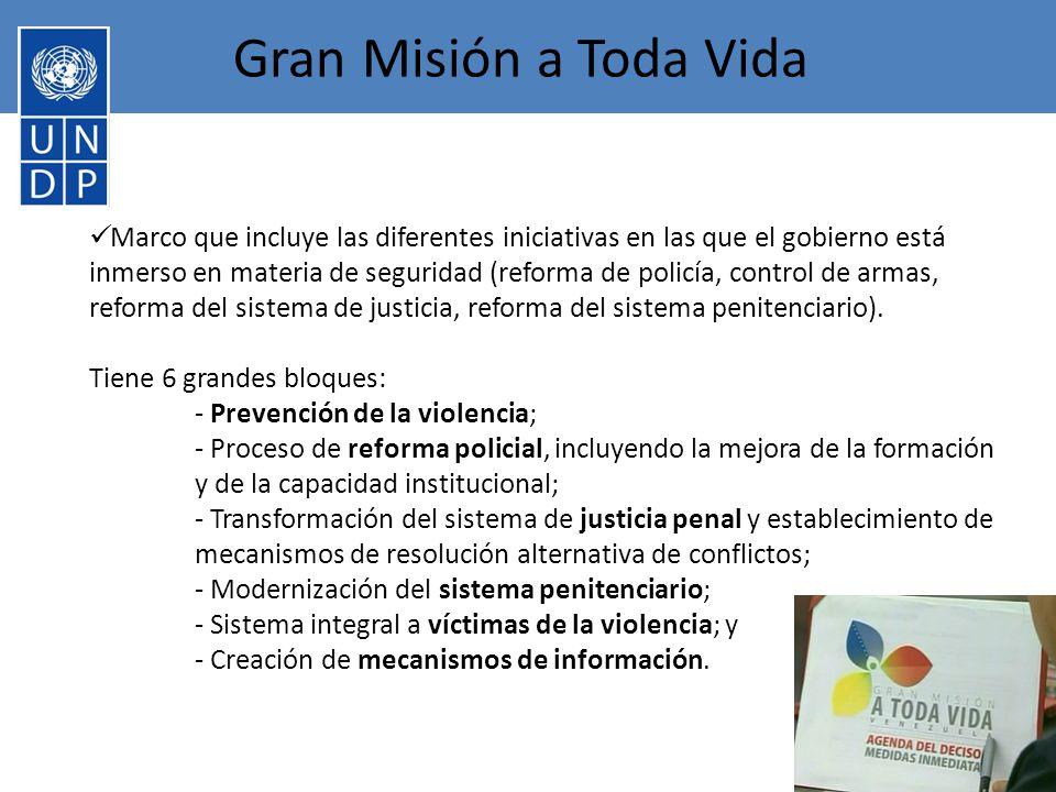 Gran Misión a Toda Vida Marco que incluye las diferentes iniciativas en las que el gobierno está inmerso en materia de seguridad (reforma de policía, control de armas, reforma del sistema de justicia, reforma del sistema penitenciario).