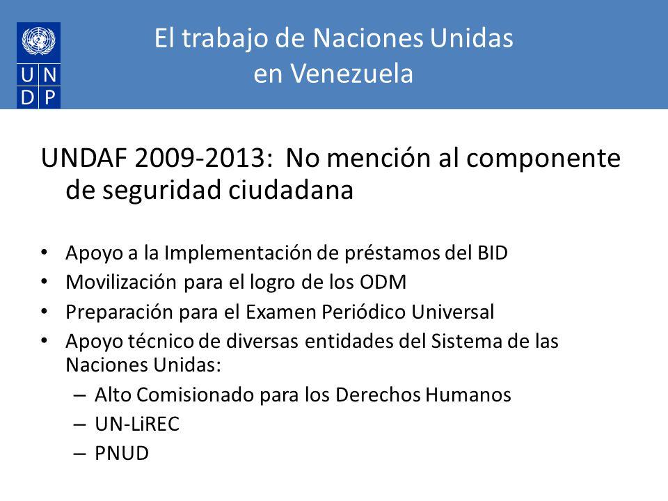El trabajo de Naciones Unidas en Venezuela UNDAF 2009-2013: No mención al componente de seguridad ciudadana Apoyo a la Implementación de préstamos del BID Movilización para el logro de los ODM Preparación para el Examen Periódico Universal Apoyo técnico de diversas entidades del Sistema de las Naciones Unidas: – Alto Comisionado para los Derechos Humanos – UN-LiREC – PNUD