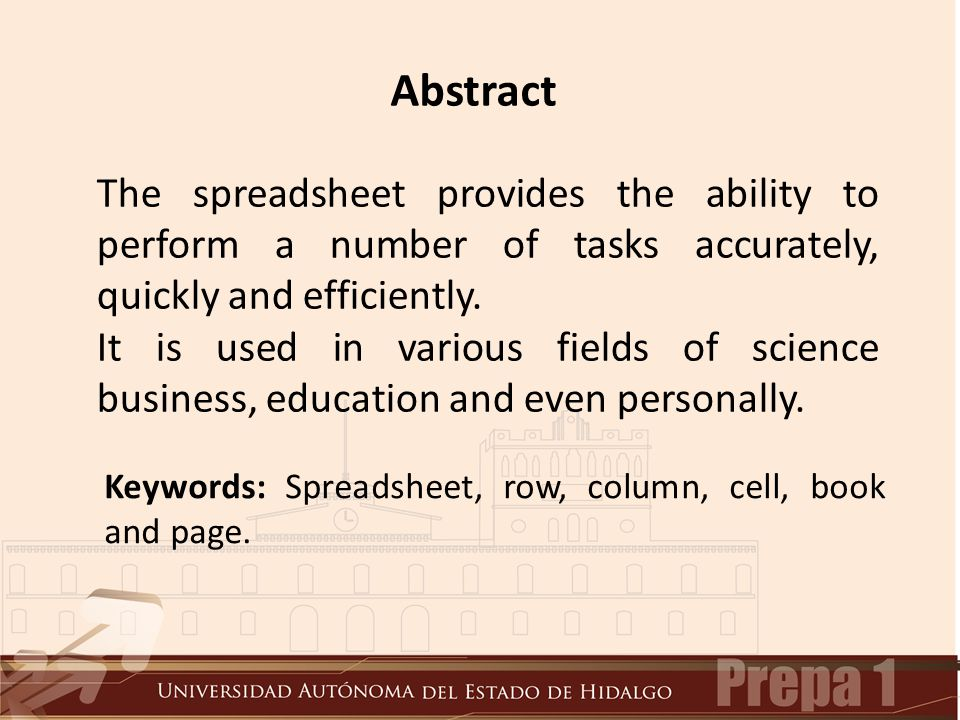 Abstract Keywords: Spreadsheet, row, column, cell, book and page.