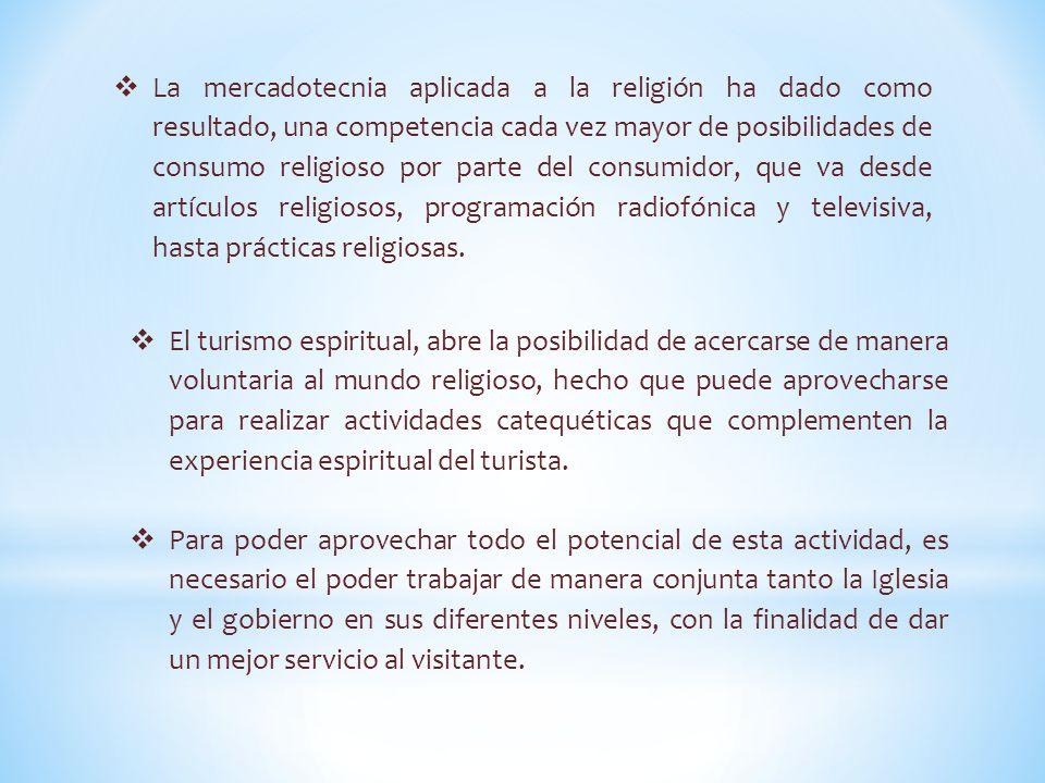  La mercadotecnia aplicada a la religión ha dado como resultado, una competencia cada vez mayor de posibilidades de consumo religioso por parte del consumidor, que va desde artículos religiosos, programación radiofónica y televisiva, hasta prácticas religiosas.