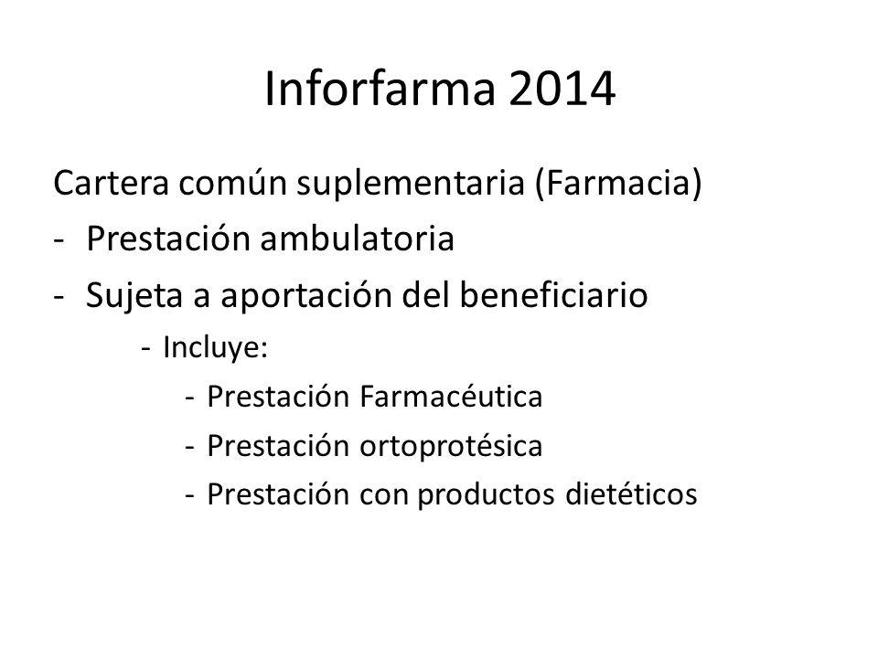 Inforfarma 2014 Cartera común suplementaria (Farmacia) -Prestación ambulatoria -Sujeta a aportación del beneficiario -Incluye: -Prestación Farmacéutica -Prestación ortoprotésica -Prestación con productos dietéticos