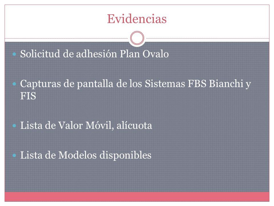 Evidencias Solicitud de adhesión Plan Ovalo Capturas de pantalla de los Sistemas FBS Bianchi y FIS Lista de Valor Móvil, alícuota Lista de Modelos disponibles