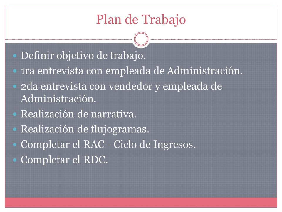 Plan de Trabajo Definir objetivo de trabajo. 1ra entrevista con empleada de Administración.