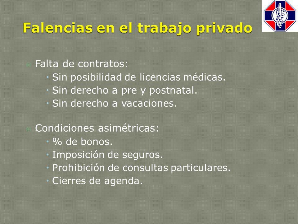  Falta de contratos:  Sin posibilidad de licencias médicas.