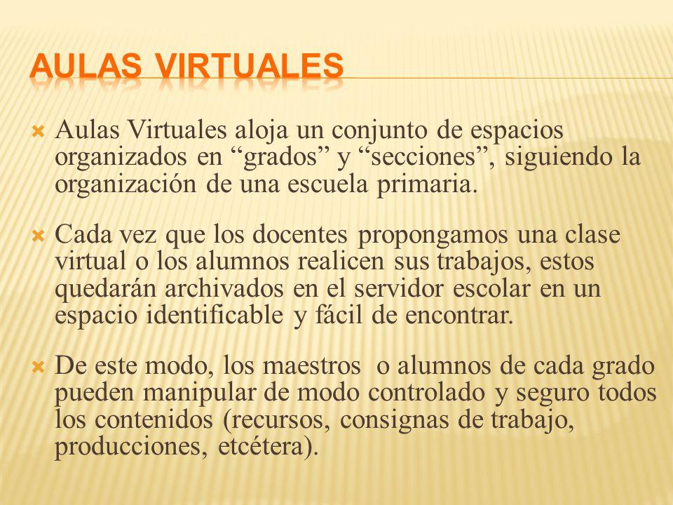  Aulas Virtuales aloja un conjunto de espacios organizados en grados y secciones , siguiendo la organización de una escuela primaria.