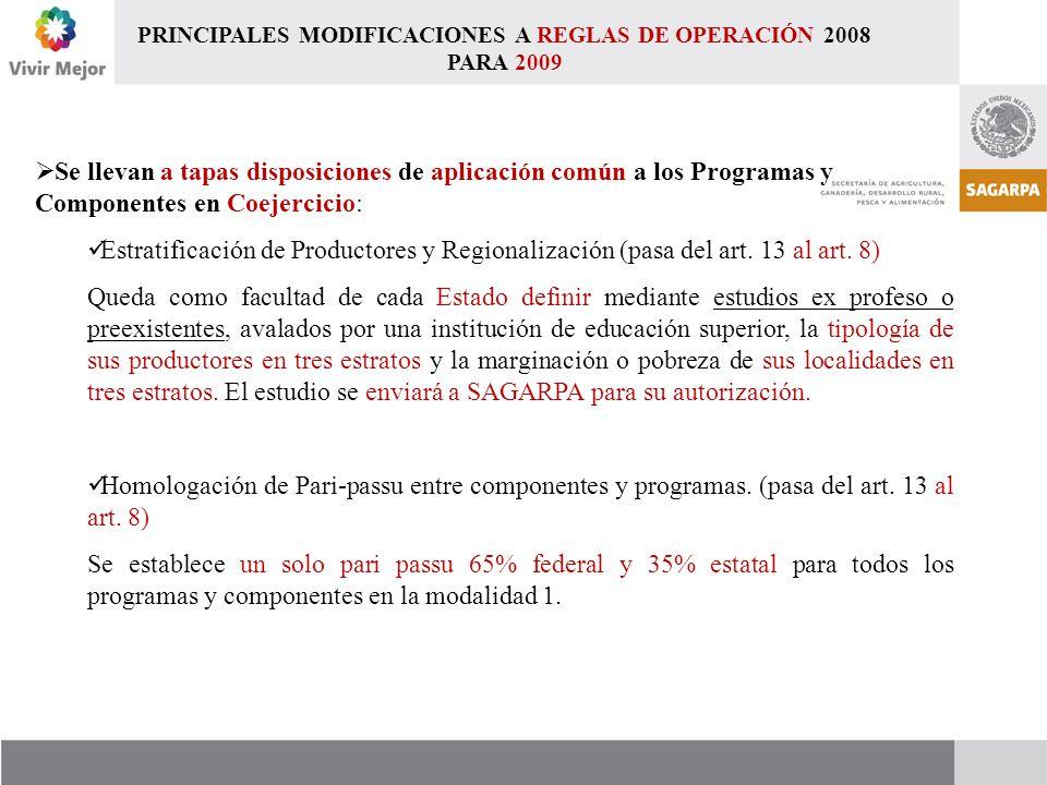  Se llevan a tapas disposiciones de aplicación común a los Programas y Componentes en Coejercicio: Estratificación de Productores y Regionalización (pasa del art.