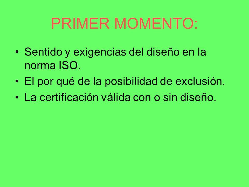 PRIMER MOMENTO: Sentido y exigencias del diseño en la norma ISO.