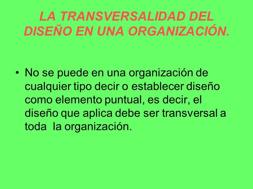 LA TRANSVERSALIDAD DEL DISEÑO EN UNA ORGANIZACIÓN.
