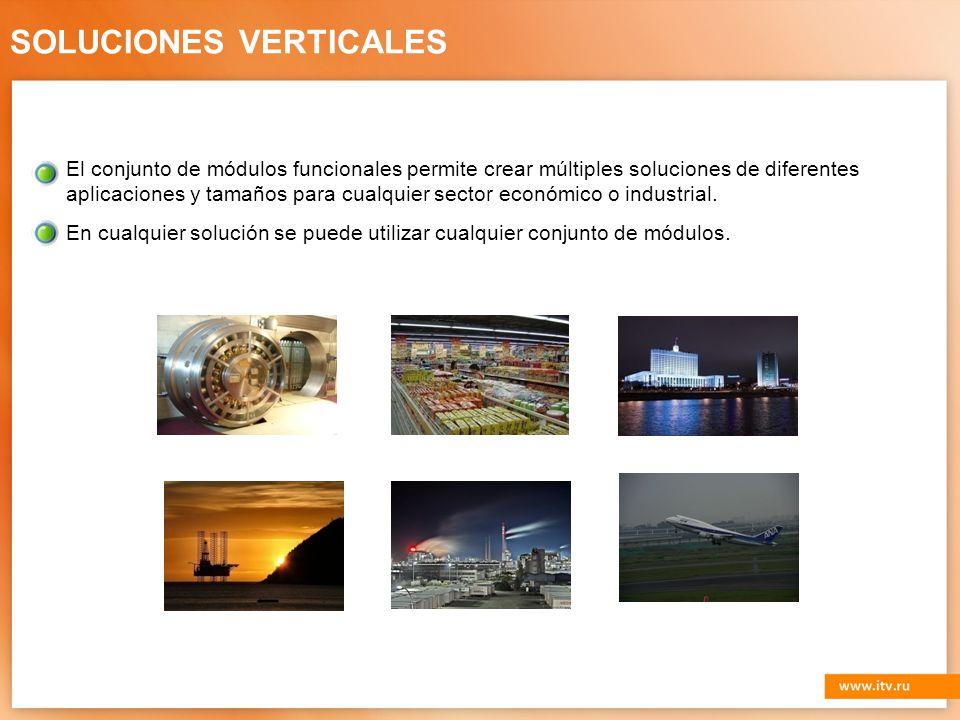 SOLUCIONES VERTICALES El conjunto de módulos funcionales permite crear múltiples soluciones de diferentes aplicaciones y tamaños para cualquier sector económico o industrial.