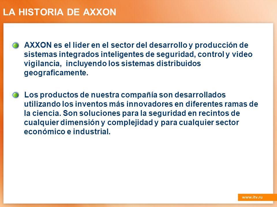 LA HISTORIA DE AXXON AXXON es el lider en el sector del desarrollo y producción de sistemas integrados inteligentes de seguridad, control y video vigilancia, incluyendo los sistemas distribuidos geograficamente.
