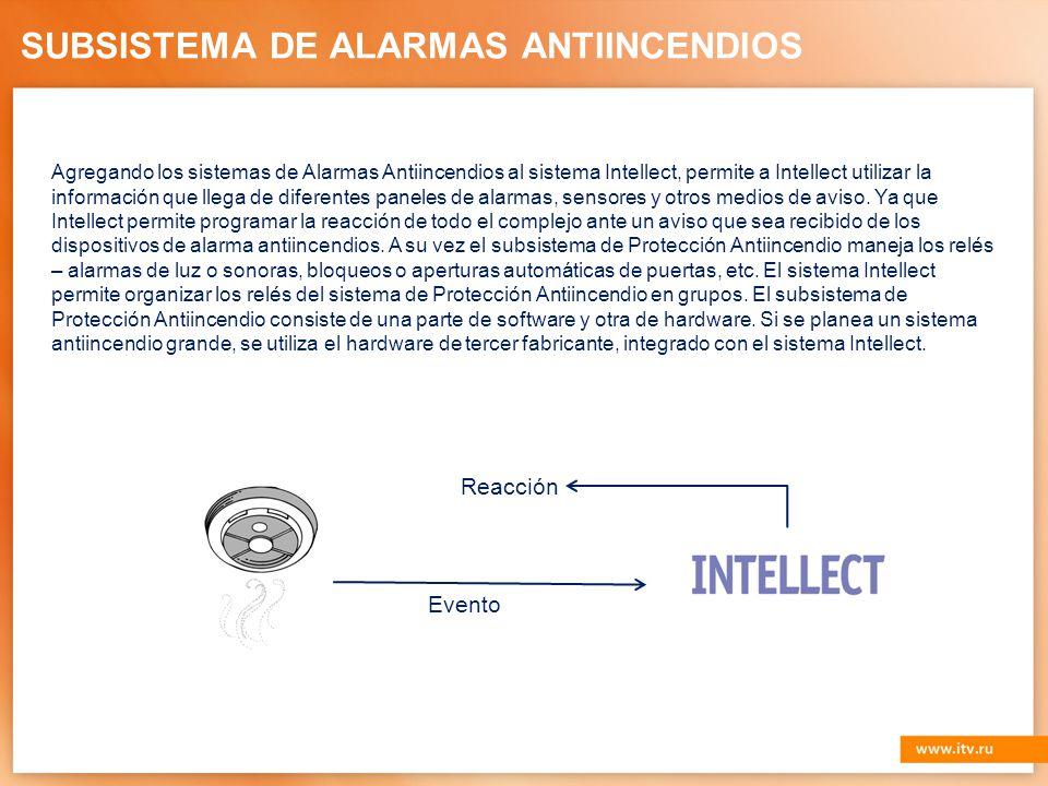 SUBSISTEMA DE ALARMAS ANTIINCENDIOS Agregando los sistemas de Alarmas Antiincendios al sistema Intellect, permite a Intellect utilizar la información que llega de diferentes paneles de alarmas, sensores y otros medios de aviso.