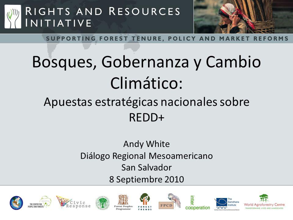 -s Bosques, Gobernanza y Cambio Climático: Apuestas estratégicas nacionales sobre REDD+ Andy White Diálogo Regional Mesoamericano San Salvador 8 Septiembre 2010