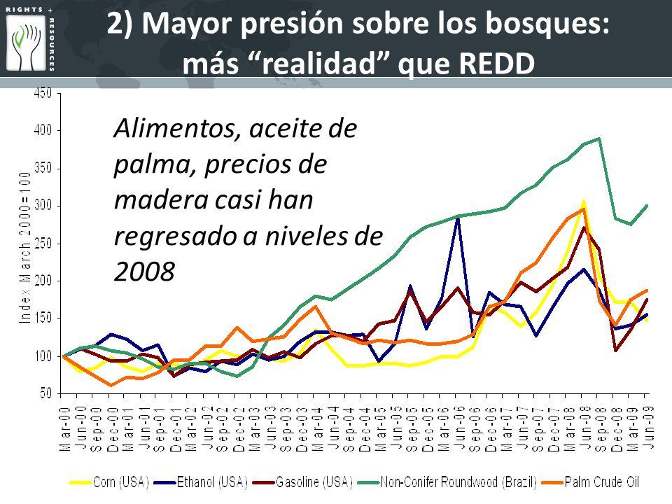 2) Mayor presión sobre los bosques: más realidad que REDD Alimentos, aceite de palma, precios de madera casi han regresado a niveles de 2008