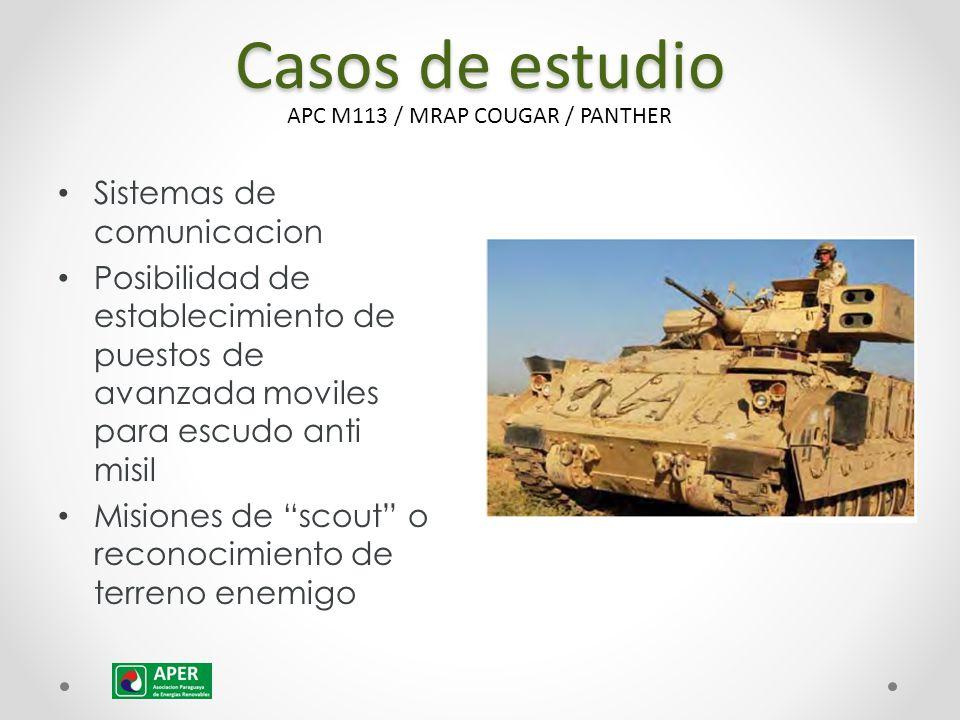 Casos de estudio Sistemas de comunicacion Posibilidad de establecimiento de puestos de avanzada moviles para escudo anti misil Misiones de scout o reconocimiento de terreno enemigo APC M113 / MRAP COUGAR / PANTHER