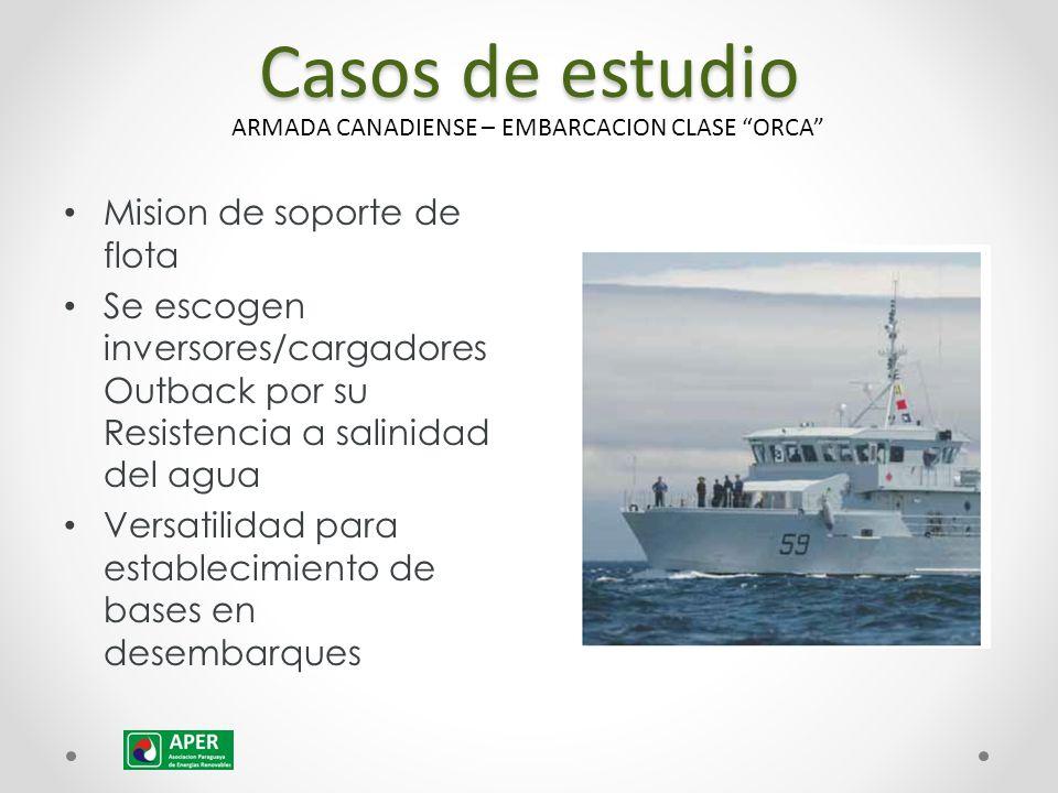 Casos de estudio Mision de soporte de flota Se escogen inversores/cargadores Outback por su Resistencia a salinidad del agua Versatilidad para establecimiento de bases en desembarques ARMADA CANADIENSE – EMBARCACION CLASE ORCA