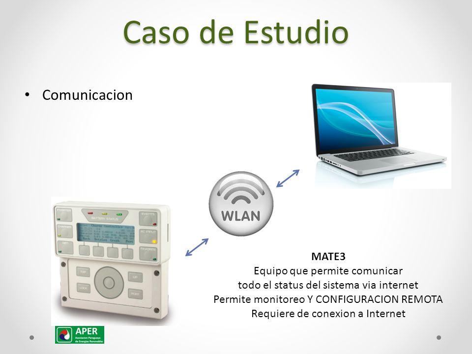 Comunicacion MATE3 Equipo que permite comunicar todo el status del sistema via internet Permite monitoreo Y CONFIGURACION REMOTA Requiere de conexion a Internet Caso de Estudio