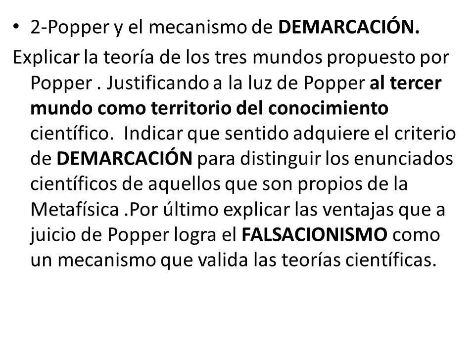 2-Popper y el mecanismo de DEMARCACIÓN. Explicar la teoría de los tres mundos propuesto por Popper.
