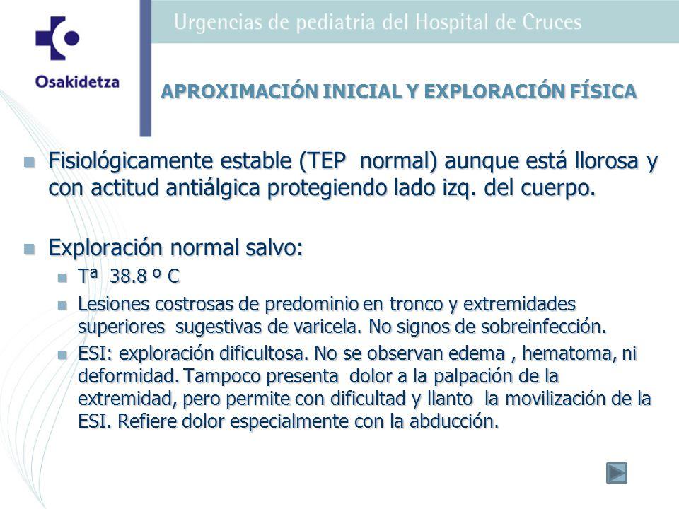 Dolor moderado en mitad superior de una extremidad -zona axilar izq de inicio brusco.